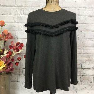 Kensie BOHO tassel front stretchy comfy sweater